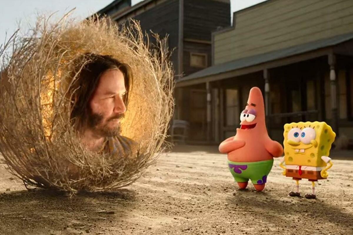 Spongebob e Keanu Reeves num filme para toda a família